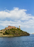 Elba island (Tuscany, Italy). The lighthouse of Portoferraio that identifies the entry in the main port of the island of Elba (Tuscany, Italy Stock Photo