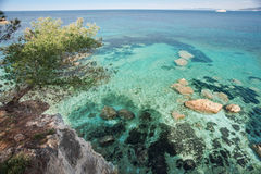 Elba Island. View from the cliffs on the crystal clear sea Royalty Free Stock Photo