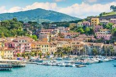 Porto Azzurro in Elba Island, Tuscany. Elba is an Italian island in the Tyrrhenian Sea's Tuscan Archipelago National Park royalty free stock image