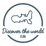 Elba Map Outline Le vintage découvrent le monde Photos stock