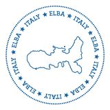 Elba map sticker. Hipster and retro style badge. Minimalistic insignia with round dots border. Island vector illustration Royalty Free Stock Images