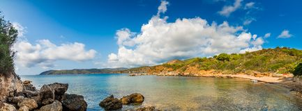 Elba sea. Exciting panorama of clear and blue sea of Island of Elba under the sun of Tuscany in Italy stock photography