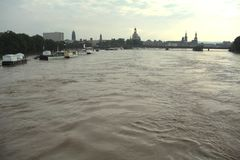Elbe flood in Dresden Royalty Free Stock Photography
