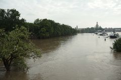 Elbe Flooding in Dresden Royalty Free Stock Photos