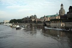 Elbe Flooding in Dresden Stock Image