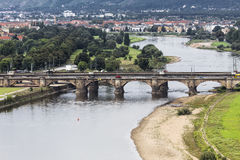 Elbe and the Marienbrücke bridge Stock Images
