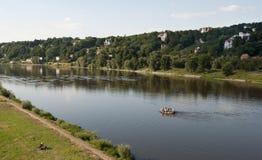 Elbe near Dresden. River Elbe near the bridge blue wonder, Dresden, Germany Royalty Free Stock Photography