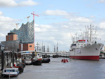 Elbe Philharmonic Hall and museum ship in Hamburg, Germany Royalty Free Stock Images