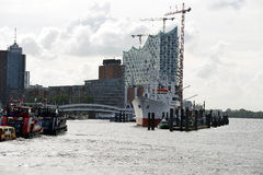 Elbe Philharmonic Hall and museum ship in Hamburg Royalty Free Stock Images