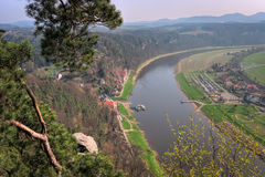 The Elbe River in the Bastei Stock Photography