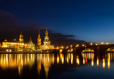 Elbe river with Catholic Church, Dresden, Germany. Elbe river with Catholic Church of the Royal Court of Saxony (Hofkirche) after sunset, Dresden, Germany Stock Photos