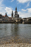 Elbe river cross Dresden. Dresden view featuring the historical center and the Elbe river royalty free stock image