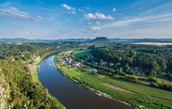 Elbe River at Elbe Sandstone Mountains Stock Images