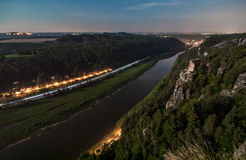 Elbe River at Elbe Sandstone Mountains Stock Photography