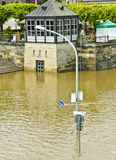 Elbe River flooding in Dresden Stock Photo
