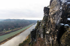Elbe River i Sachsen Arkivfoto