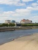 Elbe River kors Dresden Arkivbild