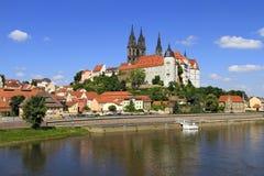 Elbe River och slott i Meissen, Sachsen arkivfoto