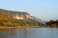On the Elbe river in Saxon Switzerland, Germany Royalty Free Stock Images