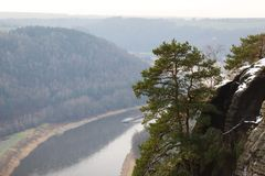 Elbe river in Saxony Stock Photos