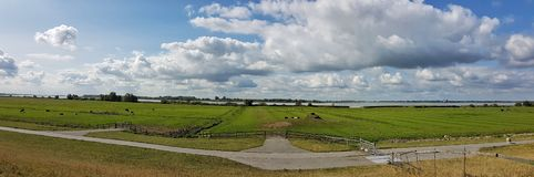Elbe River Scenery in Kollmar, Schleswig-Holstein / Germany. Panoramic view over a part of the famous Elbe River Cycle Path & x28; Elberadweg& x29 royalty free stock image