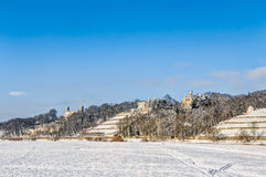 Elbe river valley in winter in Dresden Royalty Free Stock Photography
