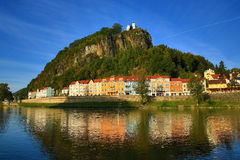 Elbe rzeka, Sheperd ściana, Tetschen kasztel, Decin, Tetschen, republika czech Obrazy Royalty Free