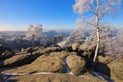 Elbe sandstenberg i vintern, Carolarock Fotografering för Bildbyråer