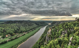 Elbe Sandstone Mountains HDR Royalty Free Stock Image