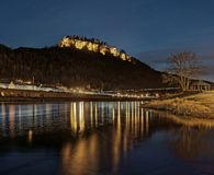 Elbe Sandstone Mountains - Night view to the fortress `Königstein` royalty free stock image