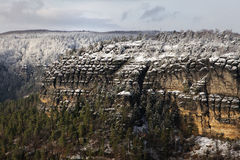 Elbe Sandstone Mountains rocks with trees in winter Stock Photography