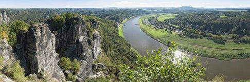 Elbe sandstone mountains. View from Bastei to river Elbe in Saxonia Stock Photos
