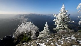 Elbe sandstone mountains in winter and hoarfrost stock video