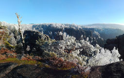 Elbe sandstone mountains in winter, Winterberg Royalty Free Stock Photos