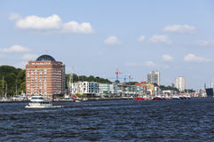 Elbe shore and skyline in Hamburg, Germany, editorial Stock Photo