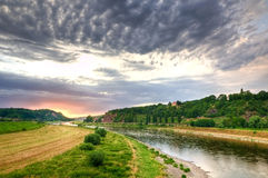 Elbe vallei in Duitsland stock foto's
