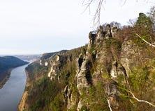 Elbe widok od Bastei Zdjęcie Royalty Free