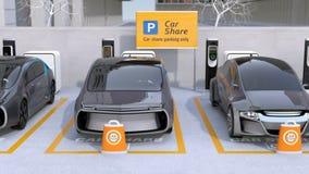 Elbilar i bilen som delar parkeringsplatsen stock illustrationer