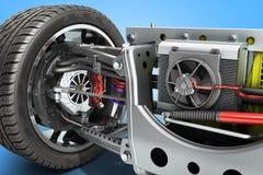 elbilcystemhjulbas med det elektriska medeldrevsystemet stock illustrationer