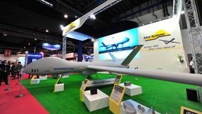 Elbit Hermes 900 long endurance unmanned aerial vehicle (UAV) on display at Singapore Airshow Stock Photo