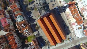 Elblag town, Poland. Aerial view of the old town of Elblag in Poland in spring time stock footage