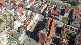 Elblag town, Poland. Aerial view of the old town of Elblag in Poland in spring time stock video footage