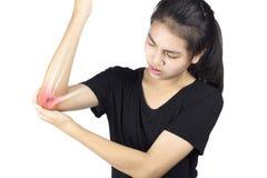 Elbow bones injury. White background elbow pain royalty free stock photography