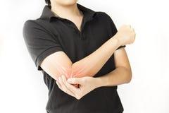 Elbow bones injury. White background elbow pain stock photo