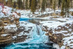 Elbow falls in late Spring. Elbow Falls, Provincial Recreation Area, Alberta, Canada Stock Photography