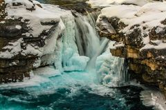 Elbow falls in winter coverings. Elbow Falls Provincial Recreation Area, Alberta, Canada Royalty Free Stock Image