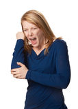 Elbow pain. Adult woman with elbow pain isolated Stock Photography