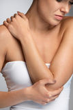 Elbow Pain. Closeup Beautiful Female Body With Pain In Arms Stock Images