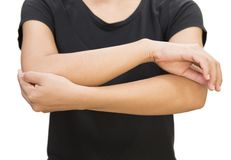 Elbow pain on white background Royalty Free Stock Images