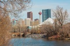Elbow River and Calgary Cityscape Royalty Free Stock Photos